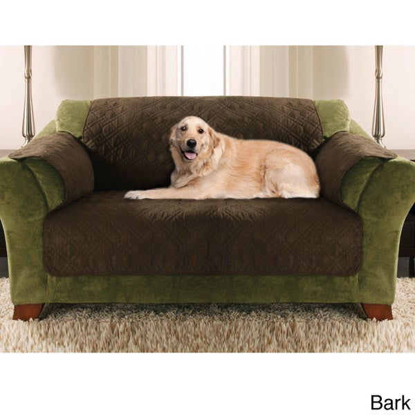 Double Diamond Micro Suede Water Resistant Pet Loveseat Cover Furniture  Protector