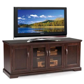 Chocolate Cherry and Bronze Glass 60-inch TV Stand