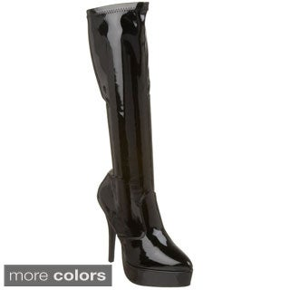 Pleaser Indulge Women's 5.25-inch Stiletto Stretch Platform Knee High Boots