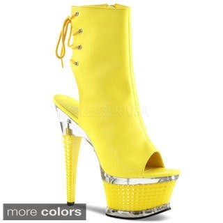 Pleaser Illusion Women's Textured Heel Ankle Boots