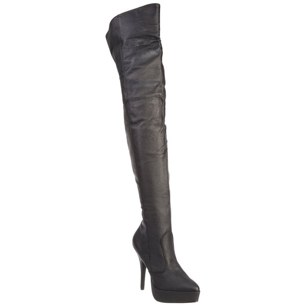 Pleaser Women's 'Indulge-3011' Black Leather Over-the-knee Platform Boots