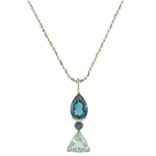 Beverly Hills Charm Sterling Silver Tanzanite, Aquamarine and Blue Topaz Necklace
