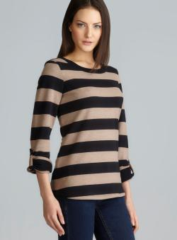 Calvin Klein Tab Sleeve Quick Dry Striped Performance Pullover