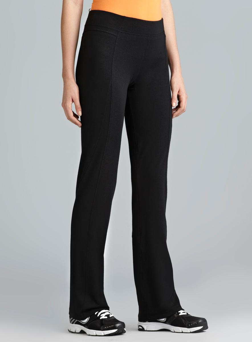 Central Park Black Exposed Seam Straight Leg Performace Pant