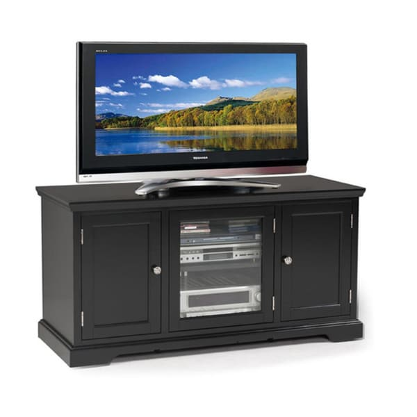 shop hardwood black 50 inch tv stand free shipping today 8372888. Black Bedroom Furniture Sets. Home Design Ideas
