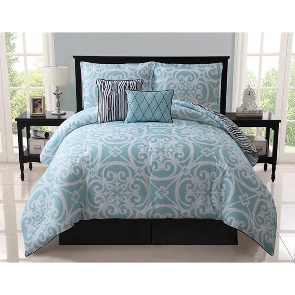 VCNY Kennedy 5-piece Reversible Blue Comforter Set