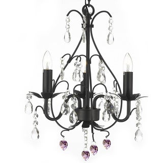 Gallery Wrought Iron/Crystal Pink Hearts Chandeliers