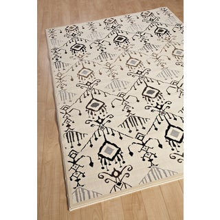 Glitter Ikat Lantern Cream Abstract Area Rug (5'5 x 7'9)