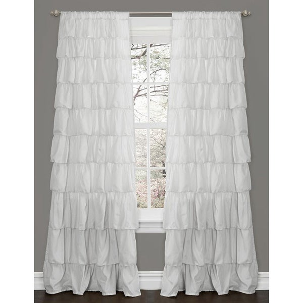 Lush Decor Ruffle White 84-inch Curtain Panel - Free Shipping On ...