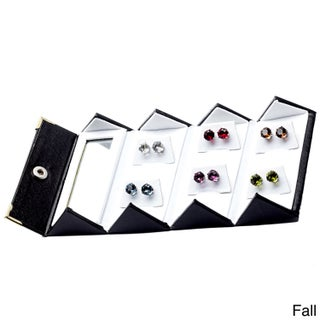 Alexa Starr 8mm Crystal Stud Earrings Made with Austrian Crystal Elements (Set of 6) (Option: Fall - Silvertone)