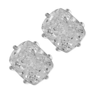 NEXTE Jewelry Sterling Silver Cushion-cut Cubic Zirconia Stud Earrings