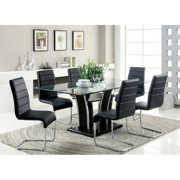 Dining Glass Table Set: Shop Furniture Of America Ziana Contemporary 7-piece