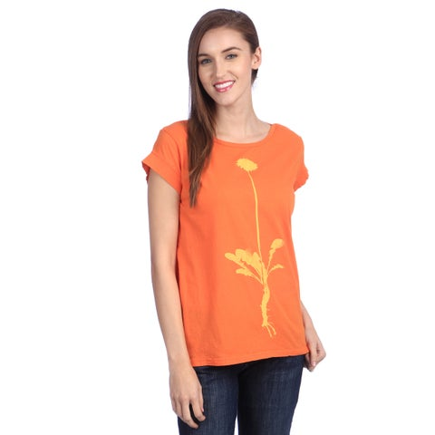 Women's 'Dandelion Virtue' Hot Orange Organic Cotton Top