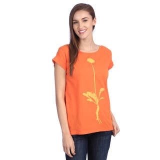 Women's 'Dandelion Virtue' Hot Orange Organic Cotton Top|https://ak1.ostkcdn.com/images/products/8373067/8373067/Womens-Dandelion-Virtue-Hot-Orange-Organic-Cotton-Top-P15678620.jpg?impolicy=medium