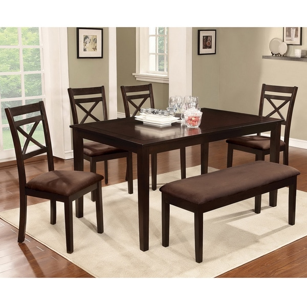 Furniture Of America Normandie 6 Piece Espresso Dinette Set With Dining Bench Free Shipping