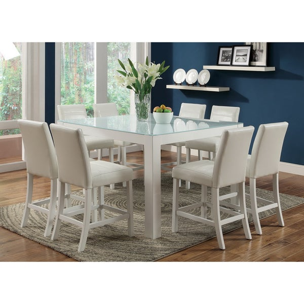 blithe 9 piece tempered glass counter height dining set set of 9