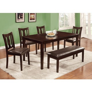 Furniture of America Ciff Urban Brown Faux Leather 6-piece Dining Set