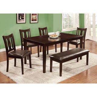 Furniture of America Urban Lee 6-piece Espresso Dining Set with Dining Bench