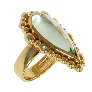 Michael Valitutti Gold over Silver Green Amethyst and White Topaz Ring (Size 7)