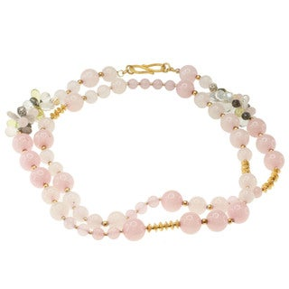 Michael Valitutti Gold over Silver Morganite, Rose Quartz, Lemon Quartz, Labradorite and Keshi Pearl Necklace (5-12 mm)