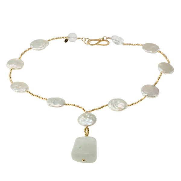 Michael Valitutti Gold over Silver Aquamarine, Rock Crystal and Pearl Necklace (6-10 mm) (20 mm)