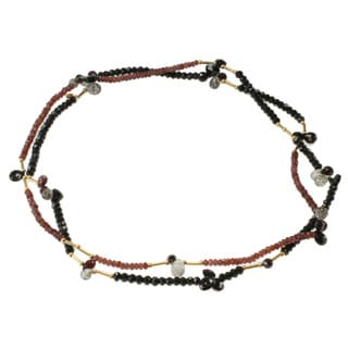 Michael Valitutti Gold over Silver Garnet, Black Spinel and Tourmalated Quartz Necklace