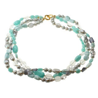 Michael Valitutti Gold over Silver Amazonite, Iolite, Larimar, Rock Crystal and Grey Pearl Necklace (7-14 mm)