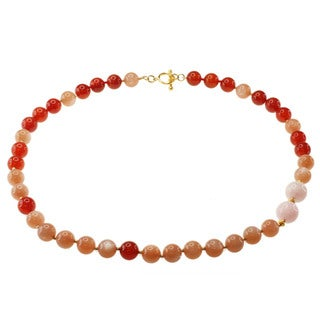 Michael Valitutti Gold over Silver Peach Moonstone, Carnelian and Morganite Necklace