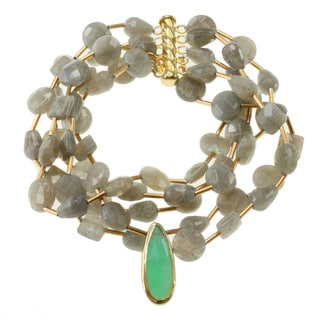 Michael Valitutti Gold over Silver Labradorite and Chrysoprase Bracelet