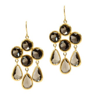 Michael Valitutti/ Kristen Gold over Silver Smokey Quartz Earrings