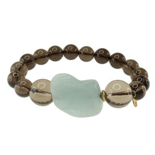 Michael Valitutti Gold over Silver Smokey Quartz and Aquamarine Bead Bracelet