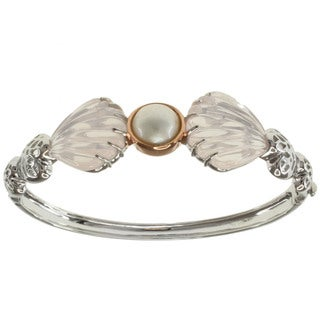 Michael Valitutti/ Jason Two-tone Silver Mabe Pearl and Rose Quartz Seashell Bracelet (10 mm)