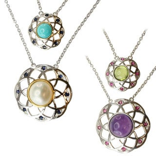 Michael Valitutti/ Jason Two-tone Mabe Pearl and Sleeping Beauty Turquoise or Amethyst and Peridot and Sapphire Necklace