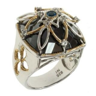 Michael Valitutti Two-tone Silver Neon Apatite, Hematite and White Sapphire Ring