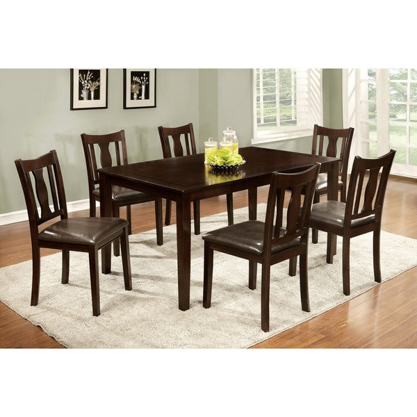 Furniture of America Ciff Urban Brown Faux Leather 7-piece Dining Set