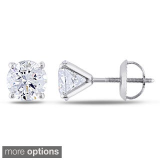 14k White Gold IGL Certified 2ct TDW Diamond Martini-Style Stud Earrings by The Miadora Signature Collection