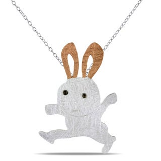 Miadora Two-tone Silver Marcasite Rabbit Necklace