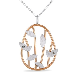 M by Miadora Two-tone Silver Marcasite Leaf Necklace