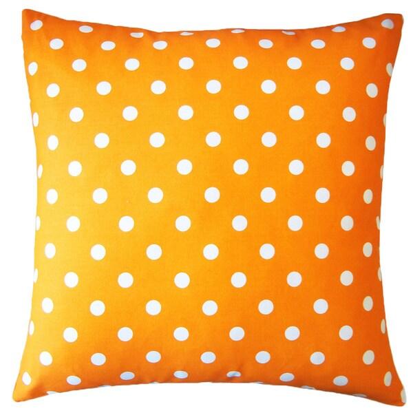 "Handmade Orange Dot Pillow - 20"" x 20"""
