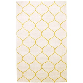 Domani Cultivated Amina Tile Ivory/ Gold Wool Rug (5' x 8')