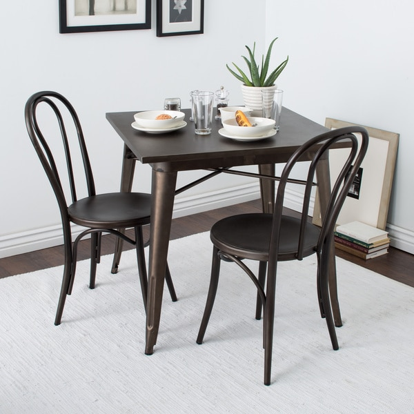 Cafe Dark Vintage Metal Dining Chairs (Set of 2)