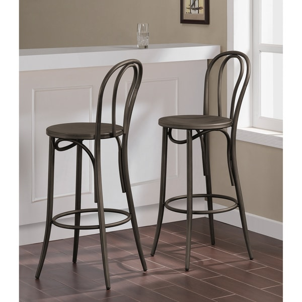 Cafe Dark Vintage Metal Bar Stools Set Of 2 Free