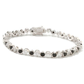 Sterling Silver Black Spinel and White Zircon Tennis Bracelet