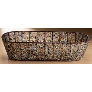 Oval 17-inch Multi-color Beads Iron Basket