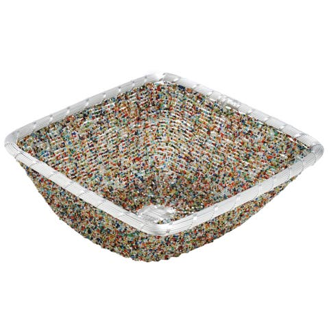 Square 11-inch Multi-colored Beads Aluminum Basket
