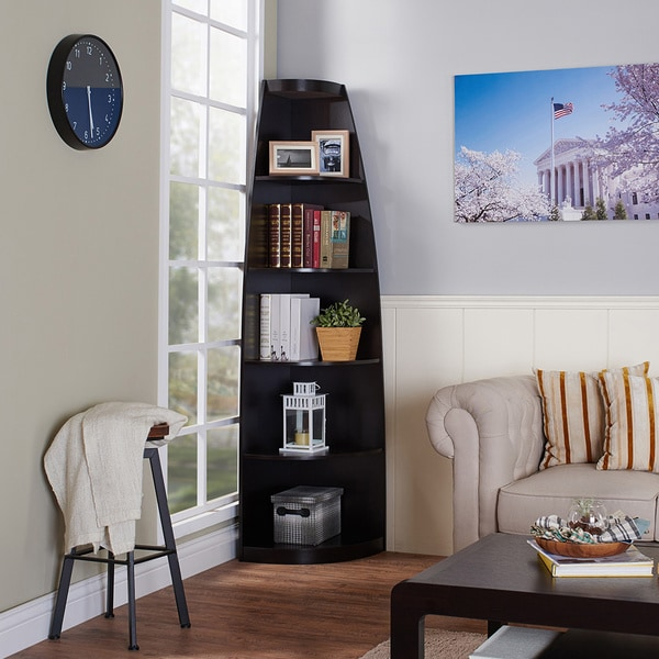 Furniture Of America Skyler Cappuccino Finished Modern 5 Shelf Corner  Bookshelf Display Unit