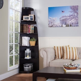 Furniture of America Skyler Modern Cappuccino 5-shelf Corner Bookshelf Display Unit
