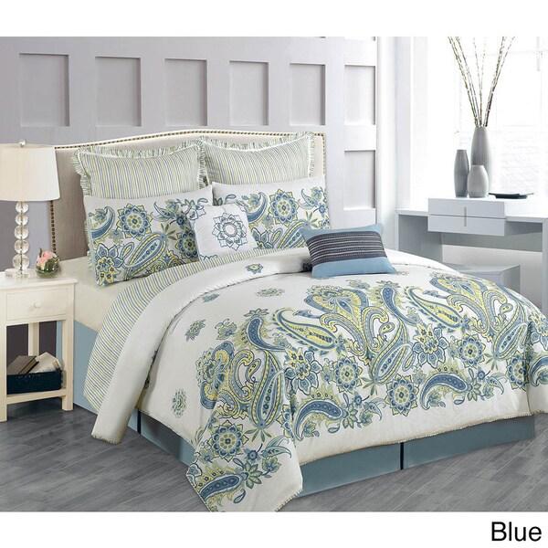 Lacozee 100-percent Cotton Paisley Bloom 8-piece Comforter Set