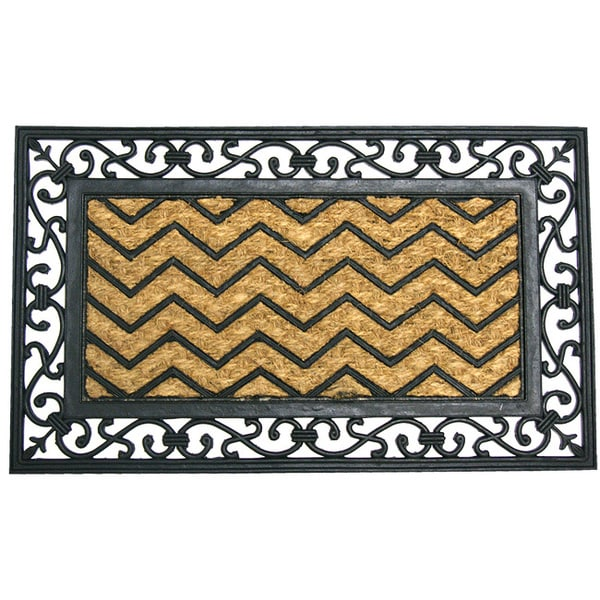 Monogrammed Floor Mats >> Shop Rubber-Cal 18 x 30-inch Waves Coir/Rubber Designer ...