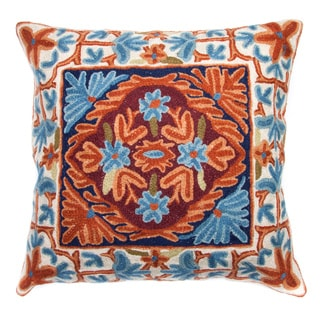 Chain Stitch Embroidery Orange\ Blue Kashmir Cushion Cover , Handmade in India